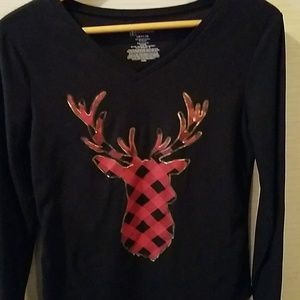 Reindeer holiday long sleeve tee 8% spandex